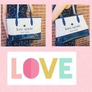 NWT Kate Spade Street Tote Bag Blue side Snap